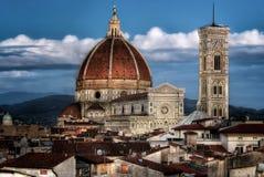Florence Cathedral Basilica di Santa Maria Del Fiore, Campanile di Giotto, Cupola del Brunelleschi V Imagen de archivo libre de regalías