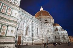 Florence Cathedral bij Nacht stock foto