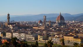 Florence Cathedral Cattedrale di Santa Maria del Fiore in historic center of Florence. Italy . Panoramic view of the city. Florence Cathedral is the major stock video footage