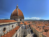 Florence Cathedral dome side. Wide angle HDR view on the Florence Cathedral from the Bell tower next to it, in Florence, Italy Stock Image