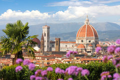 Florence cathedral with flowers, Italy Stock Image