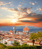 Florence cathedral with flowers, Italy Royalty Free Stock Photography