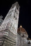 Florence Cathedral, Italia en la noche imagen de archivo