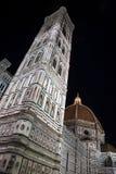 Florence Cathedral Italien på natten Fotografering för Bildbyråer