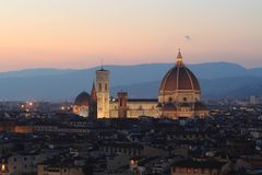 Florence Cathedral nel tramonto Immagini Stock