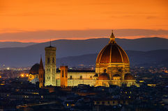 Florence cathedral night Stock Photos