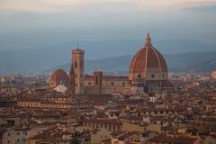 Florence Cathedral på solnedgångljus tuscany italy Arkivbild