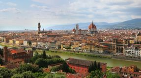 Florence Cathedral and Palazzo Vecchio in Florence, Italy stock photos