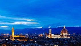 Florence Cathedral, Palazzo Vecchio och staden av Florence, I royaltyfri foto