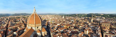 Florence cathedral panorama. Florence panorama with Basilica di Santa Maria del Fiore cathedral, as seen from the top of Giotto's Campanile Royalty Free Stock Photo