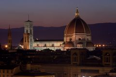 Florence Cathedral pendant la nuit Images stock