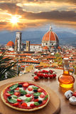 Florence cathedral with pizza in  Italy Stock Photography