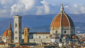 Florence and Cathedral Santa Maria del Fiore, evening, Florence, Italy. Clouds, time-lapse. Florence and Cathedral Santa Maria del Fiore, Florence, Italy stock video footage