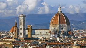 Florence and Cathedral Santa Maria del Fiore, evening, Florence, Italy. Clouds, time-lapse. Florence and Cathedral Santa Maria del Fiore, Florence, Italy stock video