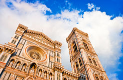 Florence Cathedral at sunset in Florence, Italy. Florence Cathedral with Giotto's Campanile at sunset on Piazza del Duomo in Florence, Italy stock photo