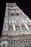 Florence Cathedral torn på natten, Italien Arkivfoto