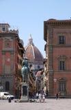 Florence Cathedral, View from the Piazza della Santissima Annunziata and Giambologna last statue, of Ferdinando I de Medici Royalty Free Stock Photos
