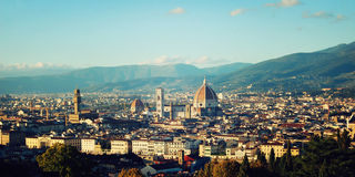 Florence Cathedral vintage effect. City view and Firenze Duomo. Stock Photography