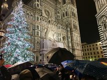 Florence Christmas Tree und Regenschirme stockbild