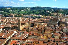Florence city aerial view with old buildings , Italy Stock Images