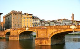 Florence city bridge and people , Italy Royalty Free Stock Image