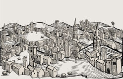 Florence city-drawing. Black and white Stock Photos