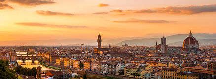 Florence city during golden sunset Royalty Free Stock Images