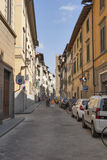 Florence city narrow street with parked cars Royalty Free Stock Photo