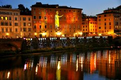 Florence city by night , Italy royalty free stock photo