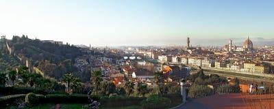 Florence City Panorama bij Schemering Stock Afbeelding