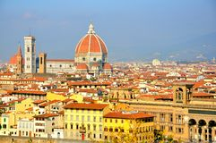 Florence city panoramic view , Italy. Buildings seen from above Arno in Florence city, Italy. Firenze panorama from Piazzale Michelangelo. postcard from Firenze stock photos