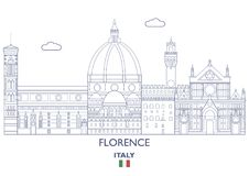 Florence City Skyline, Italie Images libres de droits