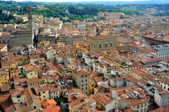 Florence city view from above  , Italy. Florence city view with toproofs of historical buildings. old architecture in europe. geometry of the city with Royalty Free Stock Photo