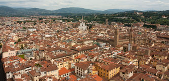 Florence - City view from Bells Tower with Santa Croce. Aerial view of Florence city royalty free stock photo