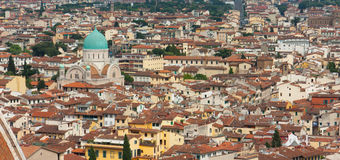 Florence - City view from Bells Tower with Tempio Israelitico di. Aerial view of Florence city royalty free stock images