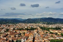 Florence city view from the Duomo  , Italy. Florence city view with toproofs of historical buildings. old architecture in europe. geometry of the city with Royalty Free Stock Photography