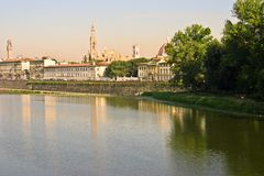 Florence cityscape. Florence and the Arno River Royalty Free Stock Photo