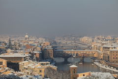 Florence cityscape. Aerial view of Florence cityscape over Arno river and Ponte Vecchio bridge, Tuscany, Italy stock photos