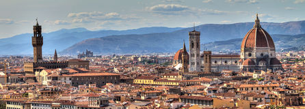 Florence cityscape. Panoramic cityscape of Florence Italy, seen from San Miniato stock image
