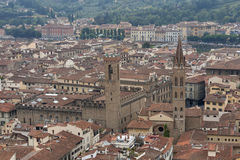 Florence cityscape with Badia Fiorentina and Bargello Palace Royalty Free Stock Photos