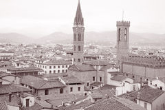 Florence Cityscape in Black and White Sepia Tone Stock Photos