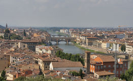 Florence cityscape with bridges over Arno river Stock Images