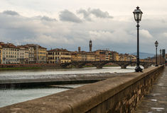 Florence cityscape in cloudy winter day, Italy Stock Photos