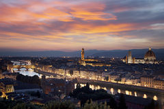 Florence cityscape at night Stock Photography