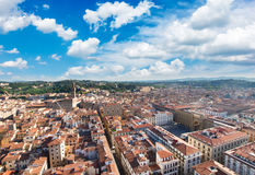 Florence cityscape with palazzo Vecchio. And square of Republic under blue sky, Tuscany, Italy Stock Photography