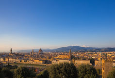 Florence cityscape. Cityscape panorama of Arno river, towers and cathedrals of Florence Stock Photos
