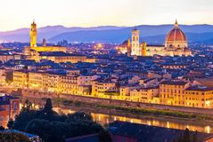Florence cityscape panoramic evening view. Tuscany region of Italy stock photography