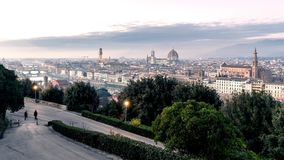 Florence cityscape timelapse at sunset. Day to night scenic landscape stock video