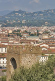 Florence cityscape with Torre San Niccolo, Italy Royalty Free Stock Images