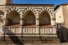 Basilica of Santa Maria Novella - Firenze Italy. Florence. Detail of the facade of the famous Basilica of Santa Maria Novella,ancient tombs, UNESCO world stock photos